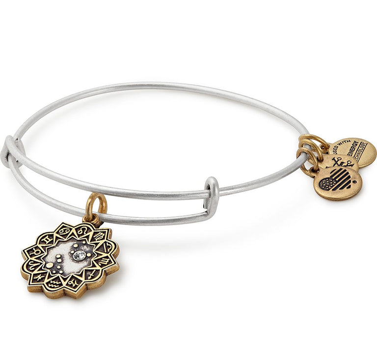 Alex and Ani Leo Two Tone Charm Bangle