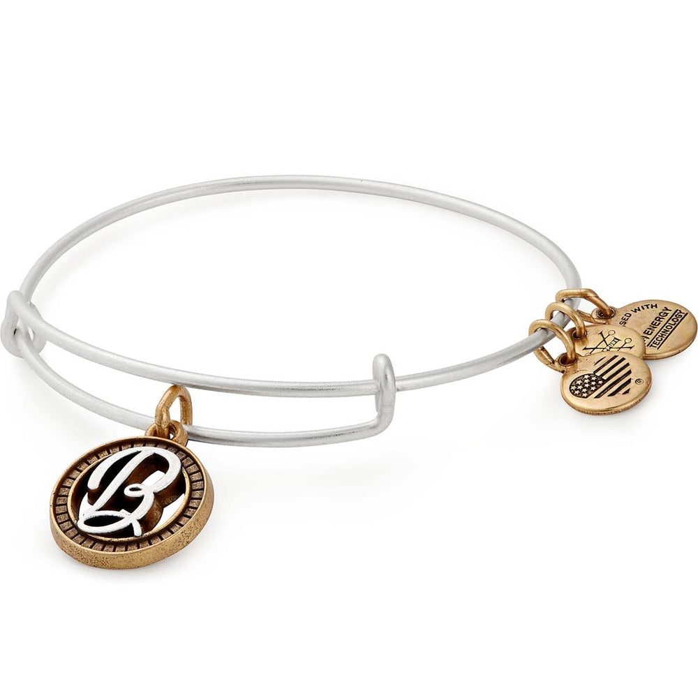 Alex and Ani Initial B Two Tone Charm Bangle