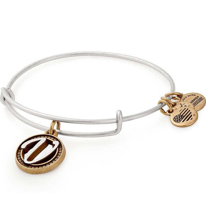 Alex and Ani Initial V Two Tone Charm Bangle