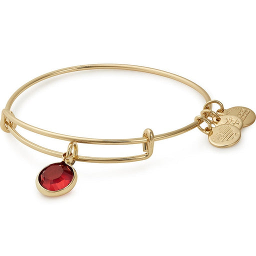 Alex and Ani Scarlet Birthstone Charm Bangle With Swarovski® Crystals Shiny Gold