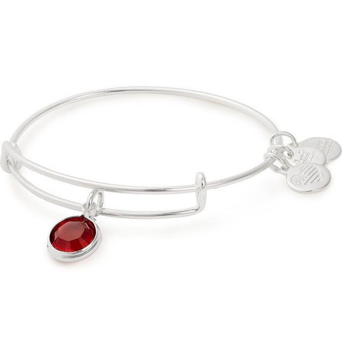 Alex and Ani Scarlet Birthstone Charm Bangle With Swarovski® Crystals Shiny Silver