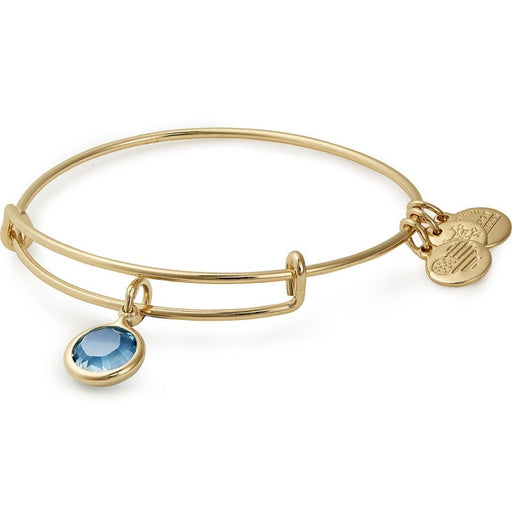 Alex and Ani Aquamarine Birthstone Charm Bangle With Swarovski® Crystals Shiny Gold