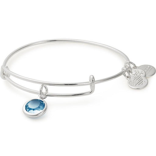 Alex and Ani Aquamarine Birthstone Charm Bangle With Swarovski® Crystals Shiny Silver
