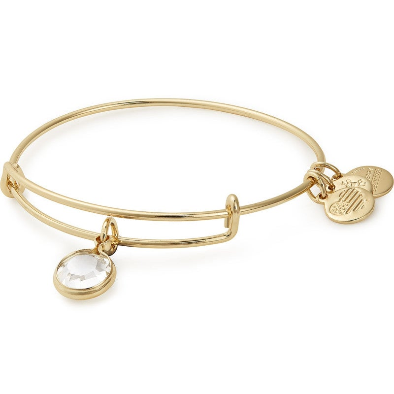 Alex and Ani Clear Crystal Birthstone Charm Bangle With Swarovski® Crystals Shiny Gold