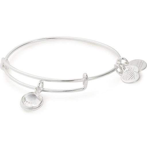 Alex and Ani Clear Crystal Birthstone Charm Bangle With Swarovski® Crystals Shiny Silver