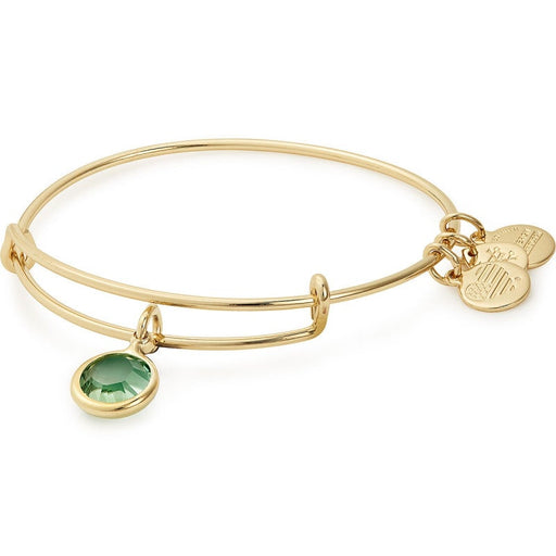 Alex and Ani Peridot Birthstone Charm Bangle With Swarovski® Crystals Shiny Gold