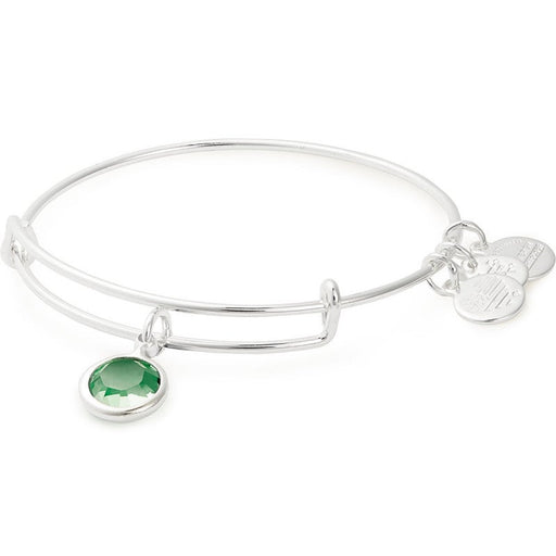 Alex and Ani Peridot Birthstone Charm Bangle With Swarovski® Crystals Shiny Silver
