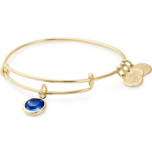 Alex and Ani Sapphire Birthstone Charm Bangle With Swarovski® Crystals Shiny Gold