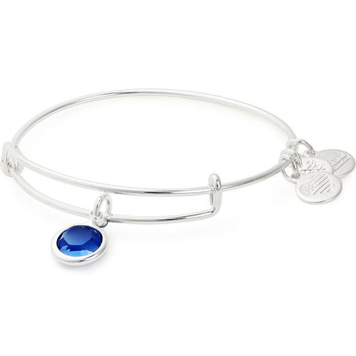 Alex and Ani Sapphire Birthstone Charm Bangle With Swarovski® Crystals Shiny Silver