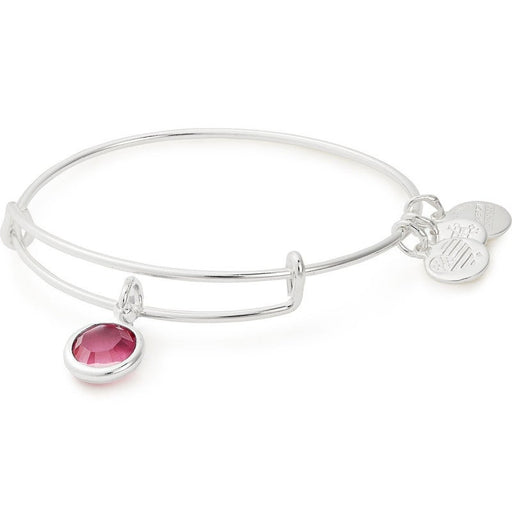 Alex and Ani Rose Birthstone Charm Bangle With Swarovski® Crystals Shiny Silver