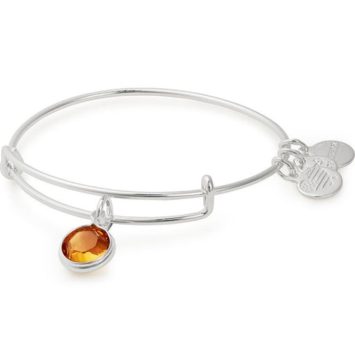Alex and Ani Topaz Birthstone Charm Bangle With Swarovski® Crystals Shiny Silver