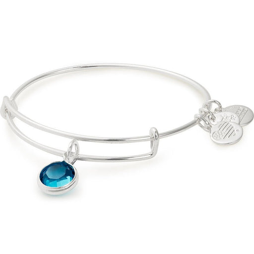 Alex and Ani Blue Zircon Birthstone Charm Bangle With Swarovski® Crystals Shiny Silver