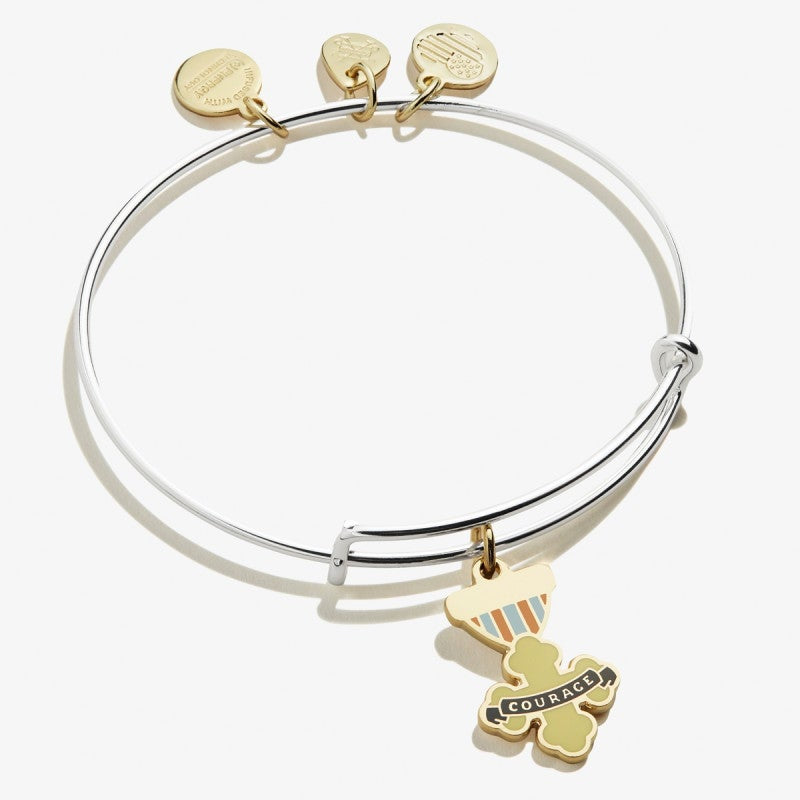 Wizard of Oz Courage Charm Bangle Two Tone Shiny Gold