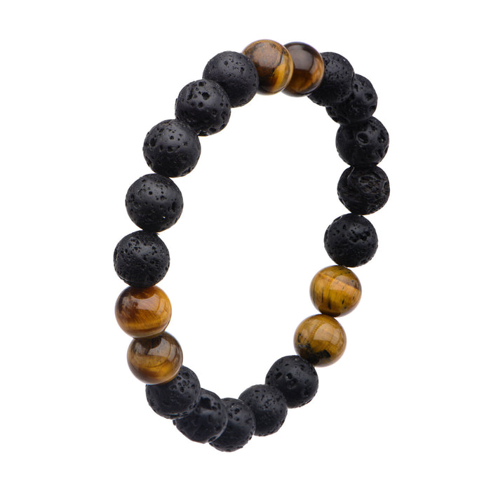INOX Black Lava and Brown Tiger Eye Beads Bracelet