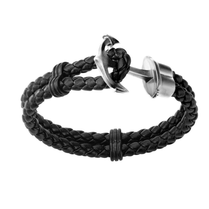 INOX Double Black Braided Leather with Steel Anchor Clasp Bracelet