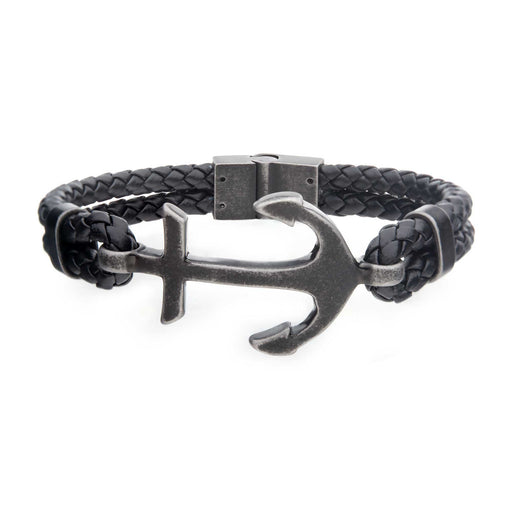 Inox Black Antiqued Double Anchor Leather Bracelet