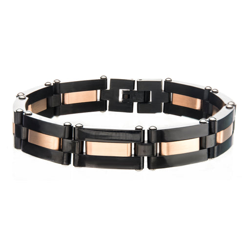 INOX Alternating Black Plated & Rose Gold Plated Link Bracelet