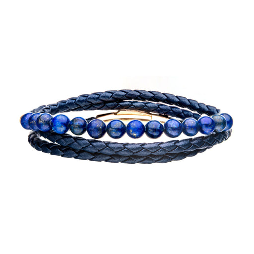INOX Double Wrap Blue Leather with Lapis Beads Bracelet