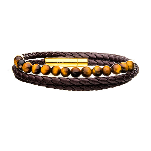 INOX Double Wrap Blue Leather with Tiger Eye Beads Bracelet
