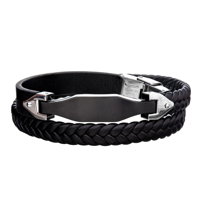 INOX Steel Black Plated & Leather Braided with Steel Clasp and Adjustable Double Wrap Bracelet