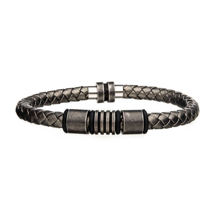 INOX Metallic Grey Braided Leather Antique Beads Bracelet