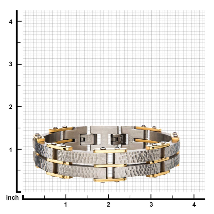 INOX Two Tone Gold Hammered Modern Bracelet