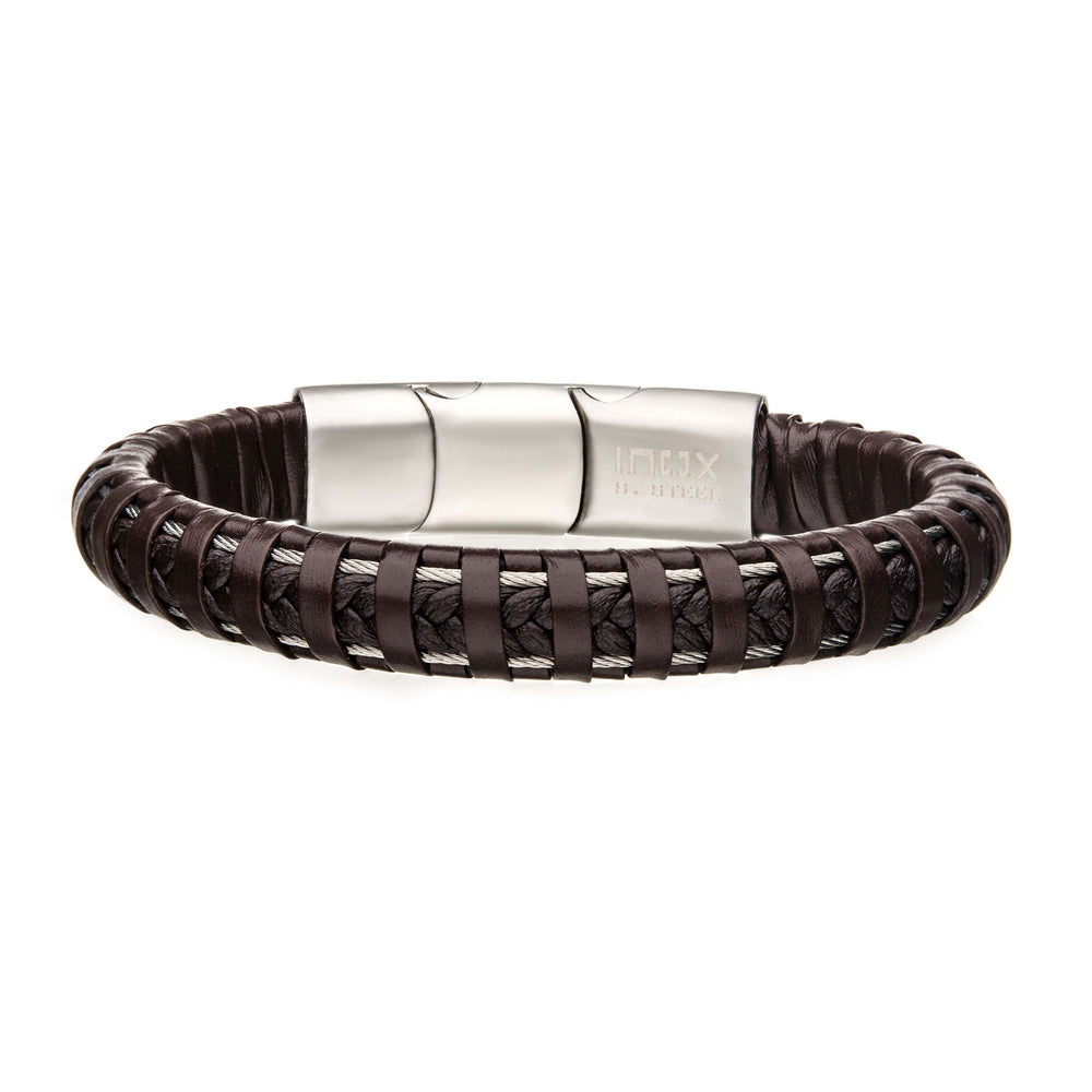 INOX Brown Leather with Steel Clasp Bracelet