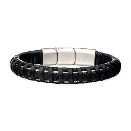 INOX Black Leather with Steel Clasp Bracelet