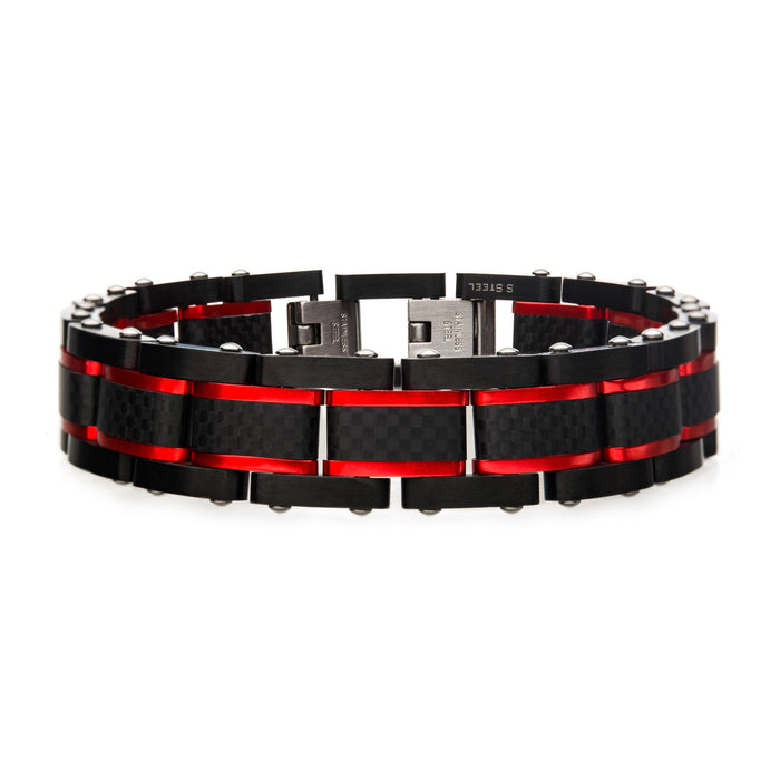 INOX Black and Red Steel Matte Carbon Fiber and Link Sizeable Bracelet