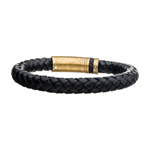 INOX Black Genuine Leather with Matte Finish Steel & Anti-Gold Plated Bracelet