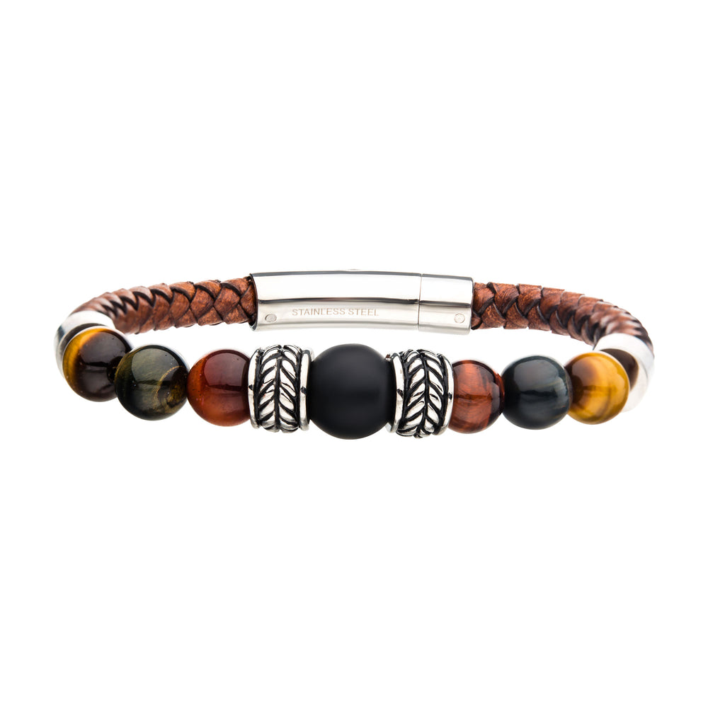 INOX Brown Genuine Leather with Steel,Tiger Eye & Black Onyx Bead Bracelet