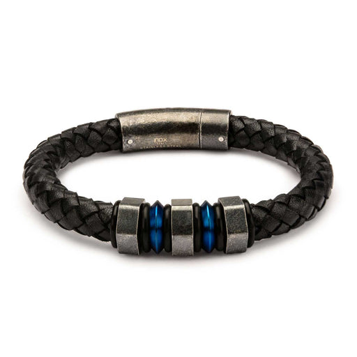 INOX Black Braided Leather with Steel Blue Plated & Gray Beads Bracelet