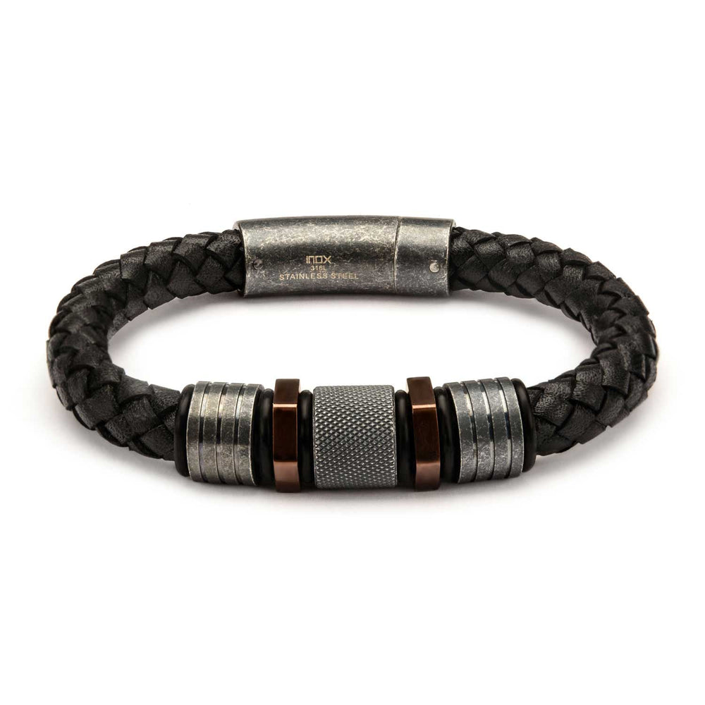 INOX Black Braided Leather with Rose Gold Plated & Steel Beads Bracelet