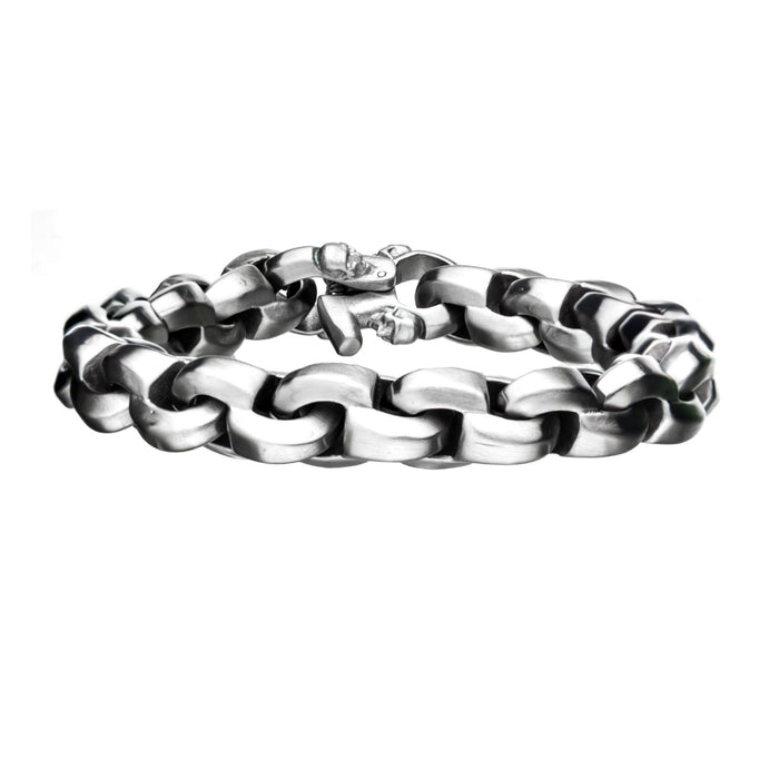 INOX Matte Steel with Skull Clasp Chain Bracelet