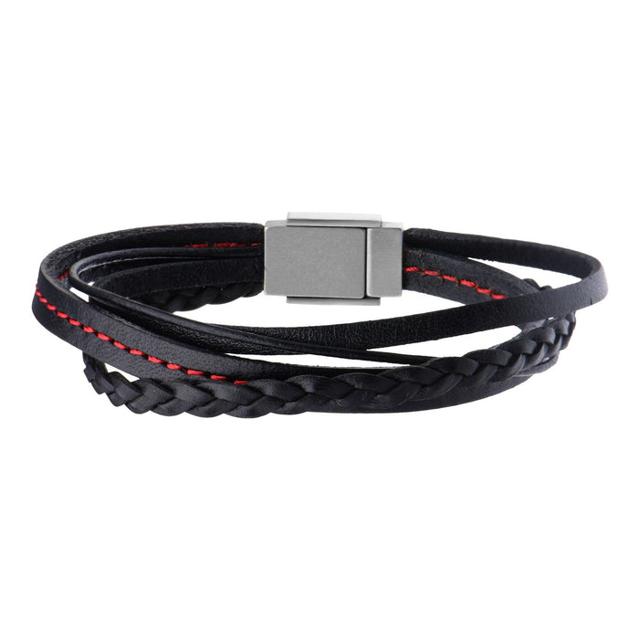 INOX Black Leather in Red Tread and Braided Layered Bracelet
