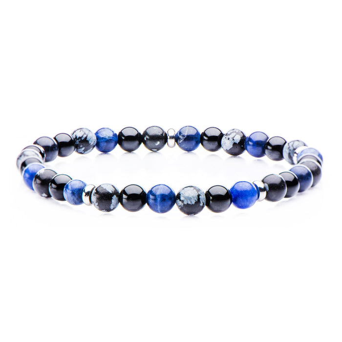 INOX Sodalite, Black Agate, Snowflake, Stainless Steel Beaded Stretch Bracelet