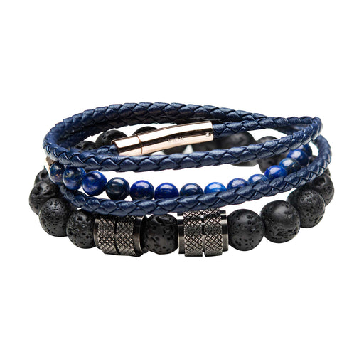 INOX Black Lava Beads & Double Wrap Blue Leather w/Lapis Beads Stackable Bracelets