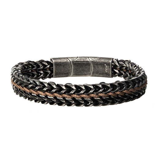 INOX Allegiance Stainless Steel Bracelets with Brown Wax Cord Binding