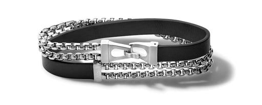 The unique clasp and double link chain contrasted with the simple black leather strap create the perfect wrap bracelet for a layered look.