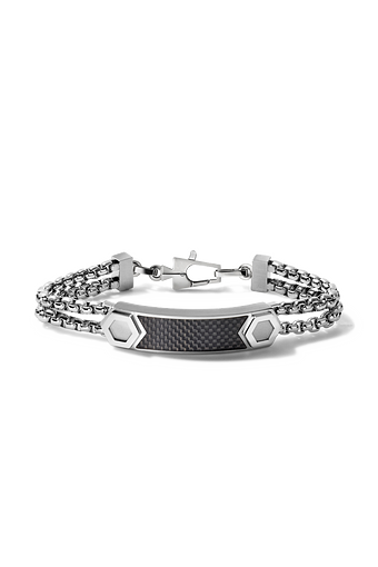 The double chain link bracelet is a unique style that connects with a textured silver and black plate with visible bolts also.