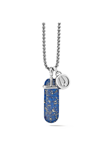 The polished and rounded blue lapis stone pendant is set in stainless steel and hanging from a round box link stainless steel chain is accompanied by a removable tuning fork charm.