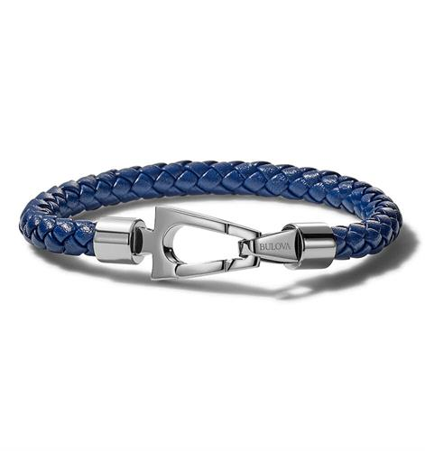 The nautical inspiration is easily visible in the color scheme and design. The blue leather is braided into a thin rope bracelet and clasped with a unique stainless steel clasp.
