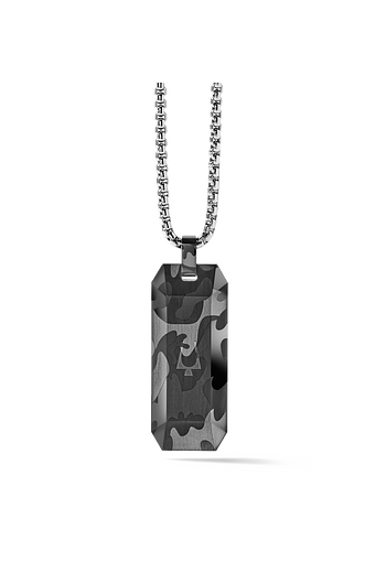 This black camo stone pendant is obelisk- shaped and is suspended from a stainless steel Precisionist bolt and hangs from the round box link stainless steel chain.