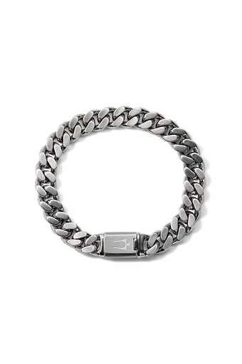 This large chain link bracelet is unadorned by anything to draw the attention away from it as a whole. The simple design is a bold statement and dawns the signature tuning fork on the clasp.