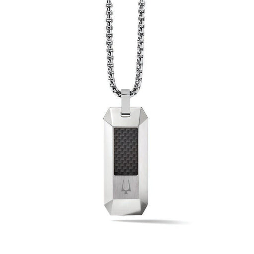 The stainless steel dog tag is a uniquely dimensional shape with a square black carbon fiber inlay and signature tuning fork emblem subtly placed at the bottom. The round box link chain with extender finishes the look nicely.