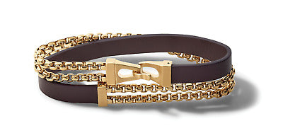 Supple brown leather and brushed gold-tone stainless steel double-wrap bracelet with round box-link double chain for an instant layered look.