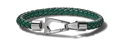 The nautical inspiration is easily visible in the color scheme and design. The green leather is braided into a thin rope bracelet and clasped with a unique stainless steel clasp.