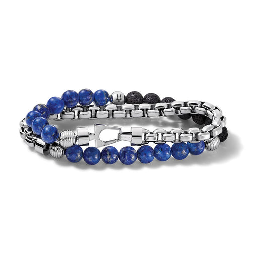 This double-wrap bracelet features beautiful blue lapis beads and contrasting black lava beads and the other wrap is a starkly different stainless steel link chain. The Bulova tuning fork logo provides signature detail on a single bead bringing the entire look together.