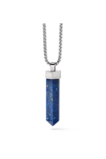 This blue lapis stone pendant is obelisk- shaped and is suspended from a stainless steel Precisionist bolt and hangs from the round box link stainless steel chain.