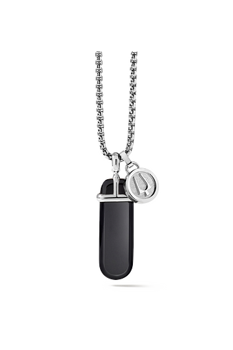 The polished and rounded black onyx pendant set in stainless steel and hanging from a round box link stainless steel chain is accompanied by a removable tuning fork charm.